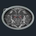 "Baphomet Pentagram Black Metal Oval Belt Buckle<br><div class=""desc"">Kneeling skeletons bow before the Prince of Darkness in this Headbangers black metal dream (or nightmare) iconic crest. Black Baphomet Pentagram symbolic to Black Heavy Metal music genre.</div>"