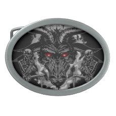 Baphomet Pentagram Black Metal Oval Belt Buckle