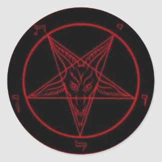 Baphomet Red Round Sticker Set