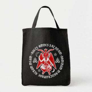 Baphomet with Satanic Crosses & Pentagrams Grocery Tote Bag