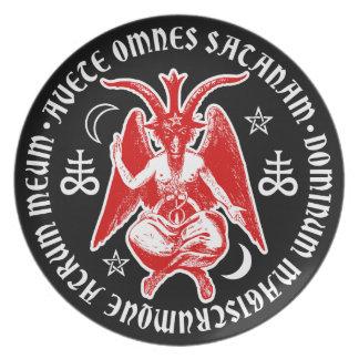 Baphomet with Satanic Crosses & Pentagrams Melamine Plate