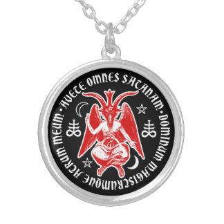 Baphomet with Satanic Crosses & Pentagrams Round Pendant Necklace