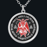 """Baphomet with Satanic Crosses &amp; Pentagrams Silver Plated Necklace<br><div class=""""desc"""">This baphomet design shows the cross legged,  horned figure flanked by satanic crosses,  pentagrams and crescent moon symbols.  The central figure is encircled by Latin text which translates as &quot;All hail Satan ,  my dark lord and master&quot;.</div>"""