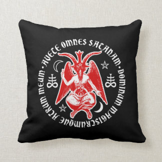 Baphomet with Satanic Crosses & Pentagrams Throw Pillow