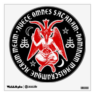 Baphomet with Satanic Crosses & Pentagrams Wall Decal