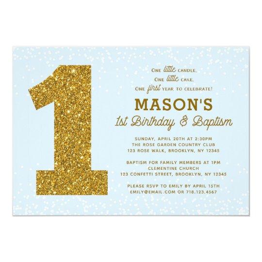 Baptism 1st Birthday Invitation Blue Gold Boy