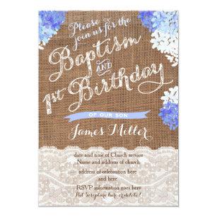 Baptism 1st Birthday Invites, Blue White Florals Invitation