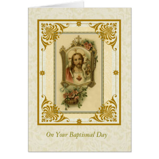 BAPTISM ADULT Sacred Heart of Jesus with lamb Card