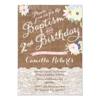 Baptism and Birthday invitations, 2nd Birthday Card