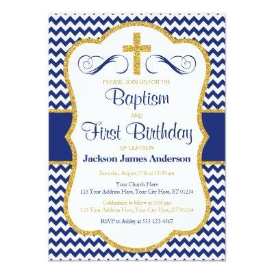 Baptism 1st Birthday Invitation Blue Gold Boy Zazzlecom