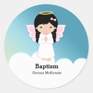 Baptism Angel Girl Classic Round Sticker