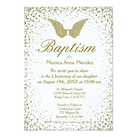Baptism Angel Wings Gold Confetti Invitation Zazzlecom