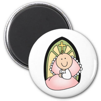 Baptism Baby Girl 2 Inch Round Magnet