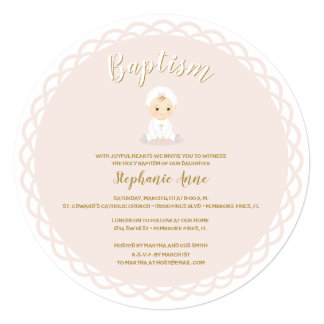 Baptism Baby Girl with Bonnet Card
