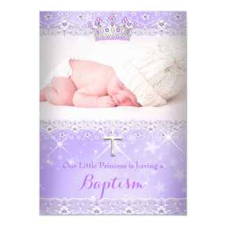 Baptism Baby Photo of Girl Lilac Purple Tiara Card