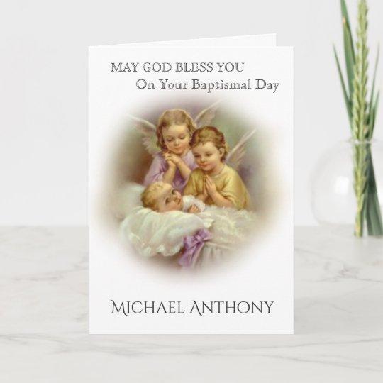 Baptism baby with praying angels catholic card zazzle baptism baby with praying angels catholic card m4hsunfo