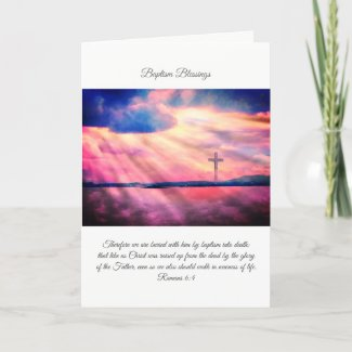 Baptism blessings, Christian folded card