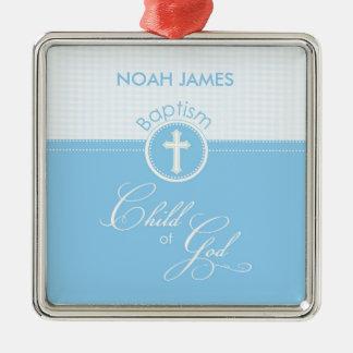 Baptism Blue Child of God, Customizable Metal Ornament