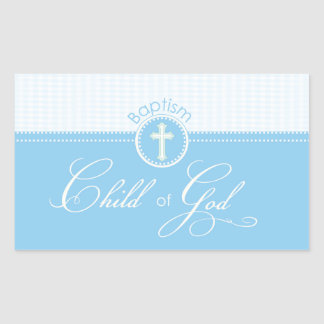 Baptism Blue Child of God, Customizable Rectangular Sticker