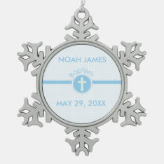 Baptism Blue Child Of God, Customizable Snowflake Pewter Christmas Ornament at Zazzle