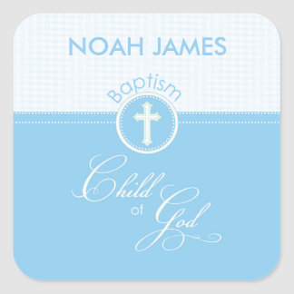 Baptism Blue Child of God, Customizable Square Sticker