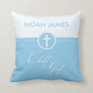 Baptism Blue Child of God, Customizable Throw Pillow