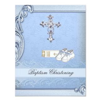 Baptism Blue Cross Boy Damask Bible Shoes Card