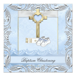 Baptism Blue Cross Boy damask christening Bible Card