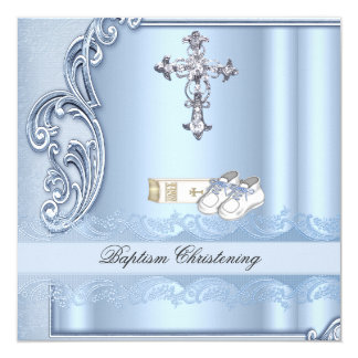 Baptism Blue Cross Boy damask christening Card