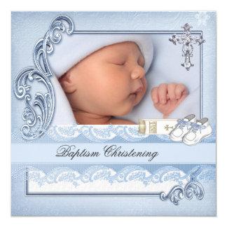 Baptism Blue Cross Boy damask christening 5.25x5.25 Square Paper Invitation Card