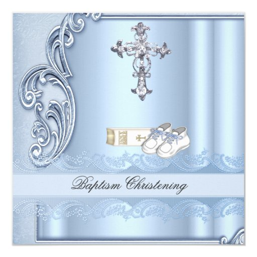 baptism blue cross boy damask christening 5 25x5 25 square