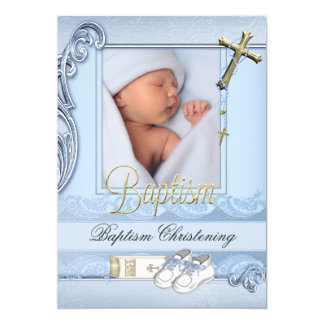 Baptism Blue Gold Cross Boy Christening 2 Card