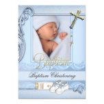 Baptism Blue Gold Cross Boy Christening 2 5x7 Paper Invitation Card
