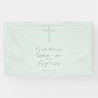 Baptism Blue Opal Delicate Floral Lace Banner