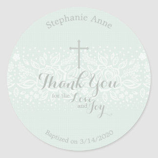 Baptism Blue Opal Delicate Floral Lace Classic Round Sticker