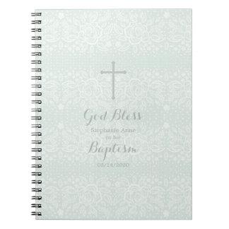 Baptism Blue Opal Delicate Floral Lace Notebook