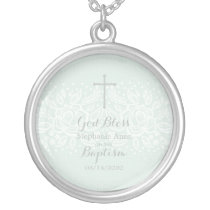 Baptism Blue Opal Delicate Floral Lace Silver Plated Necklace