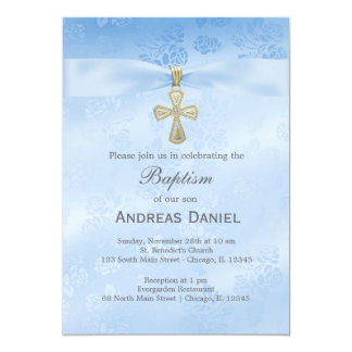 Baptism Blue Roses Card