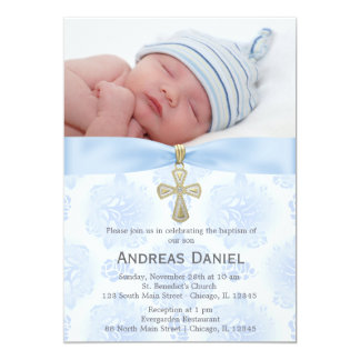 Baptism Blue Roses with photo Card
