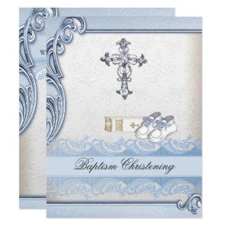 Baptism Blue White Cross Boy Damask christening Card