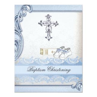 Baptism Blue White Cross Boy Damask christening Custom Invites