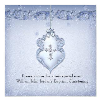 Baptism Blue White Lace Jewel Cross Boy damask Announcement