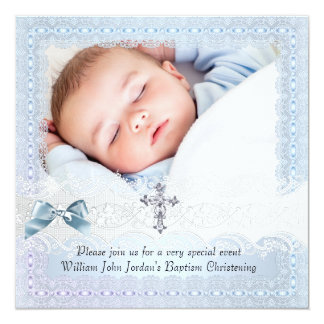 Baptism Blue White Lace Photo Jewel Cross Boy 2 Card