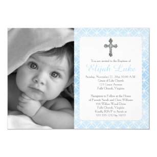 Boy baptism christening invitations zazzle baptism boy eternity rings crosses photo invitation stopboris Images