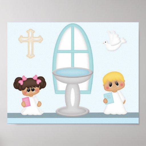 Baptism Boy Girl Bible Pink Blue Cross Poster
