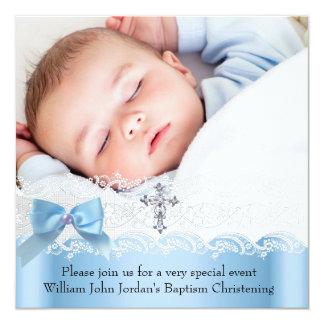 Baptism Boy Photo Blue White Lace  Jewel Cross 2 Personalized Announcement