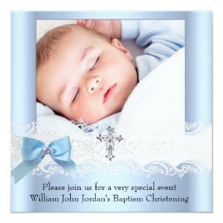Baptism Boy Photo Blue White Lace Jewel Cross 3 Card