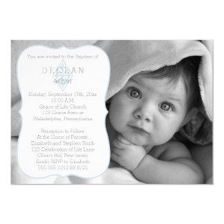 Baptism | Boy Photo Vintage Fleur de Lis Cross Card