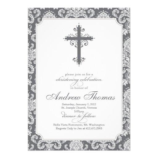 Baptism - Brown Damask Invitations
