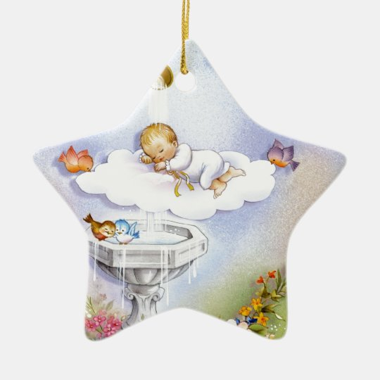Baptism Christening Baby Metal Ornament: Baptism Christening Baby Ceramic Ornament